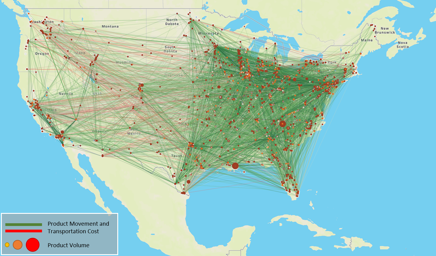 Map of shipping lanes across the country run by Feeding America by volume
