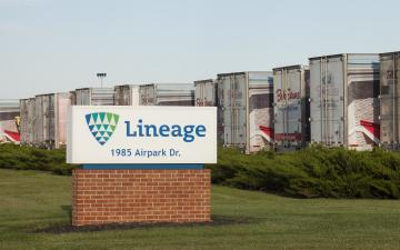 Exterior photo of Lineage's Springfield, OH facility with sign