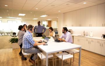 Photo of breakroom at Irvine Regional Office with team members gathered