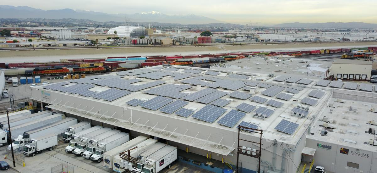 Solar panels on top of a Lineage facility in California